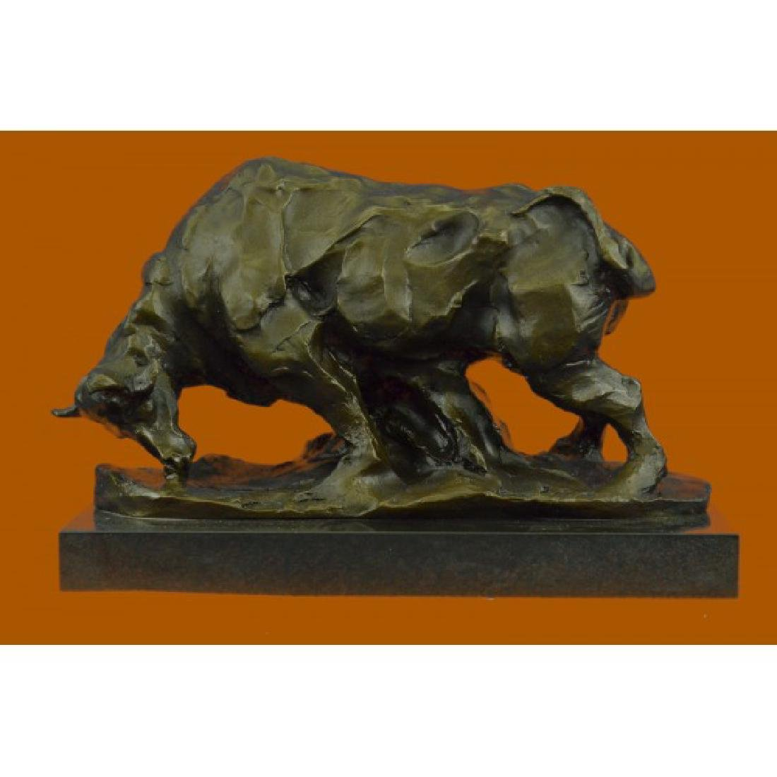 Large Abstract Modern Art Charging Bull Bronze