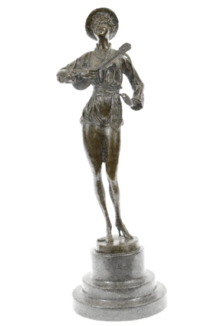 Woman Musician Bronze Sculpture on Marble Base Statue