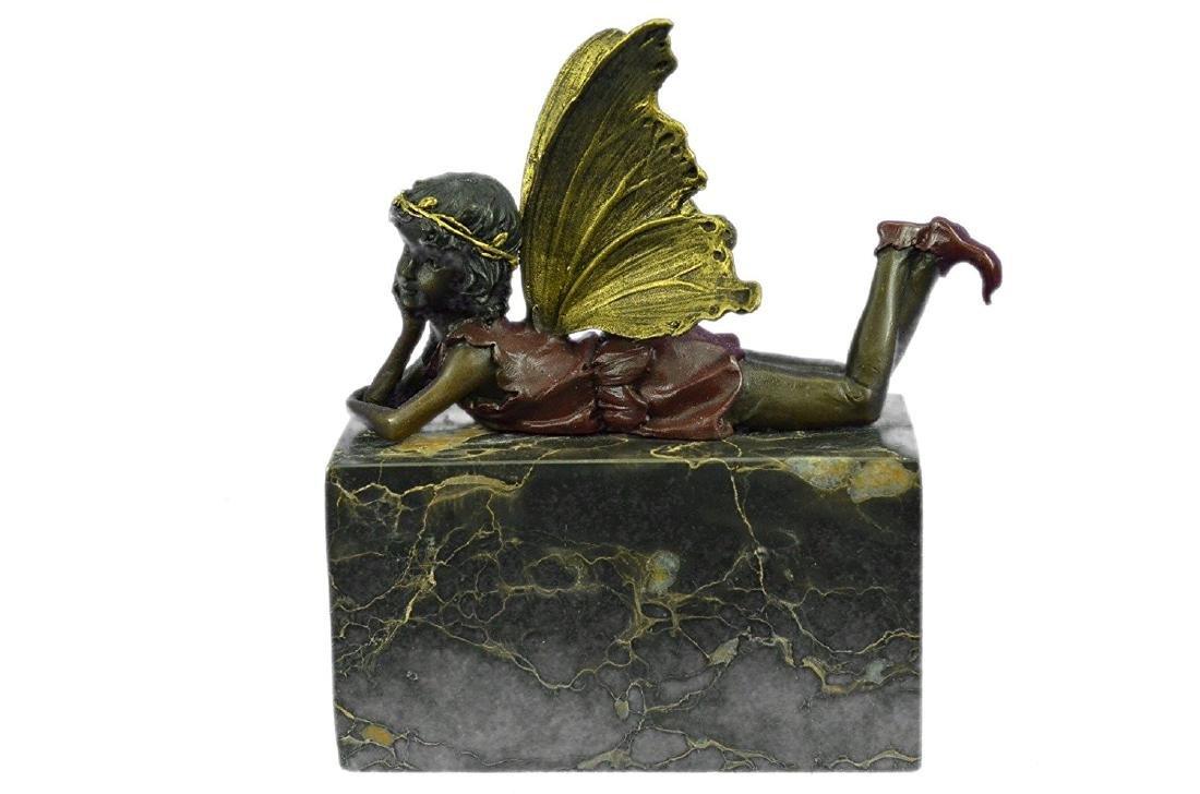Art Deco Angel Cherub Gild Bronze Statue