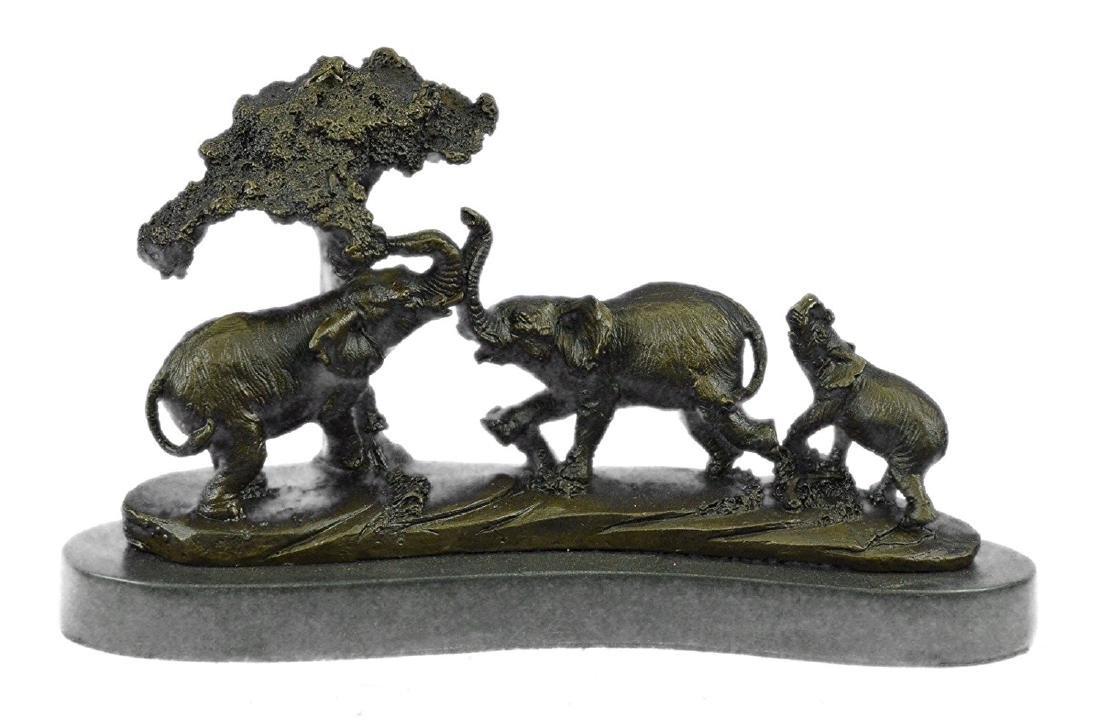 African Safari Elephant Bronze Statue