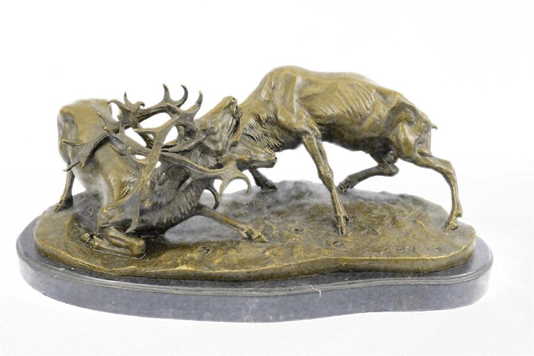 Elk Deer Bronze Sculpture on Marble Base Statue