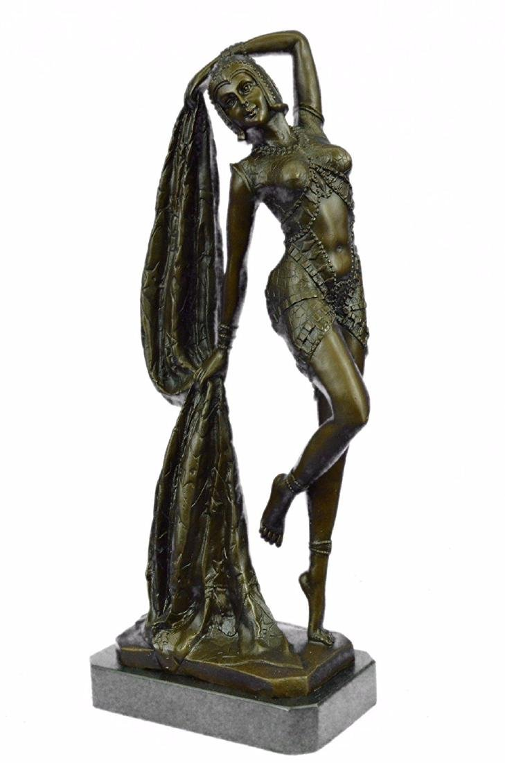 Erotic Dancer Bronze Sculpture on Marble Base Statue