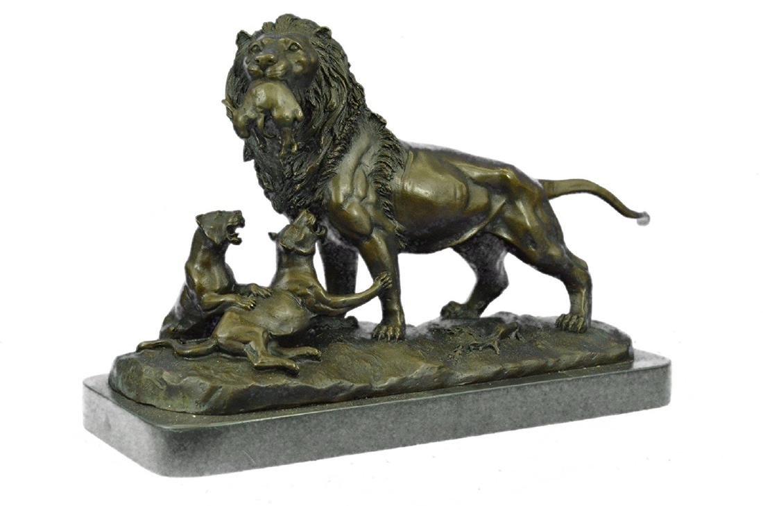 Male Lion With Cubs Bronze Figurine on Marble Base