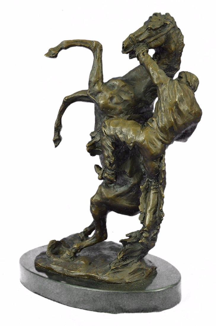 Country Western Cowboy Horse Ranch Bronze Sculpture