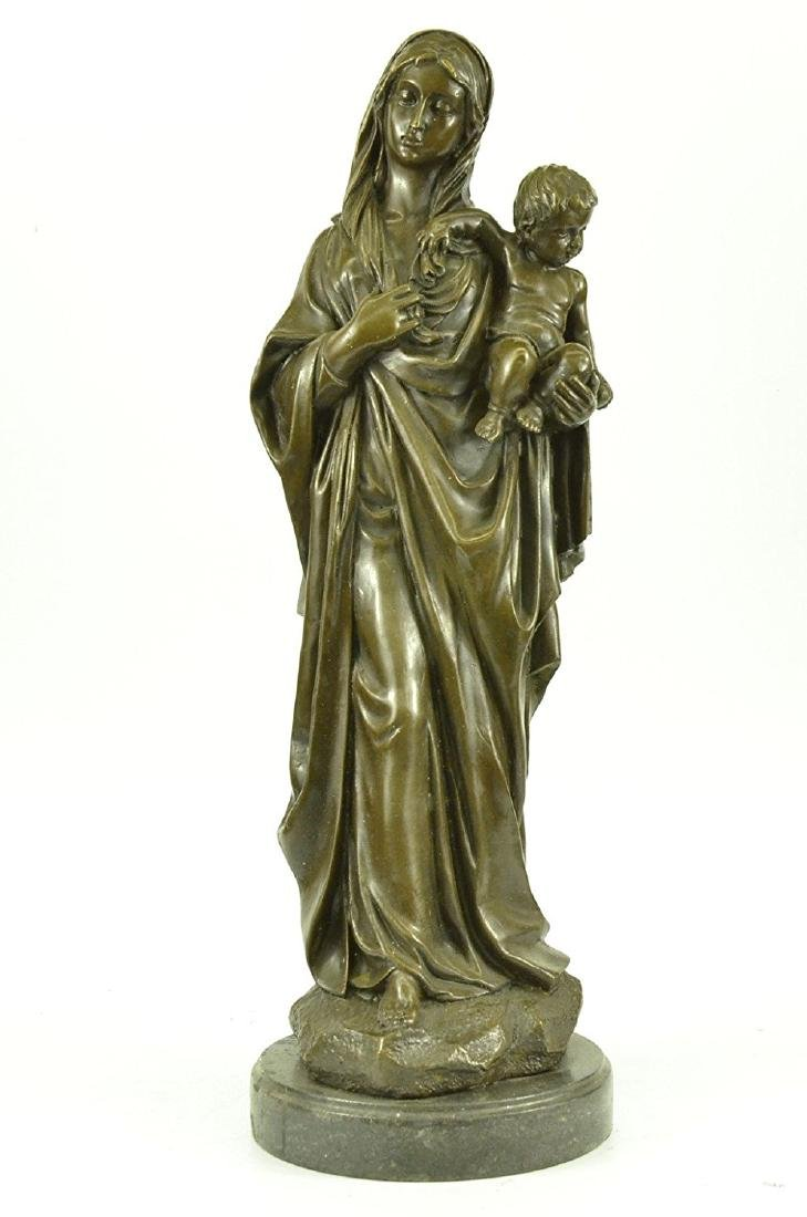 Mother Virgin Mary Bronze Sculpture on Marble Base