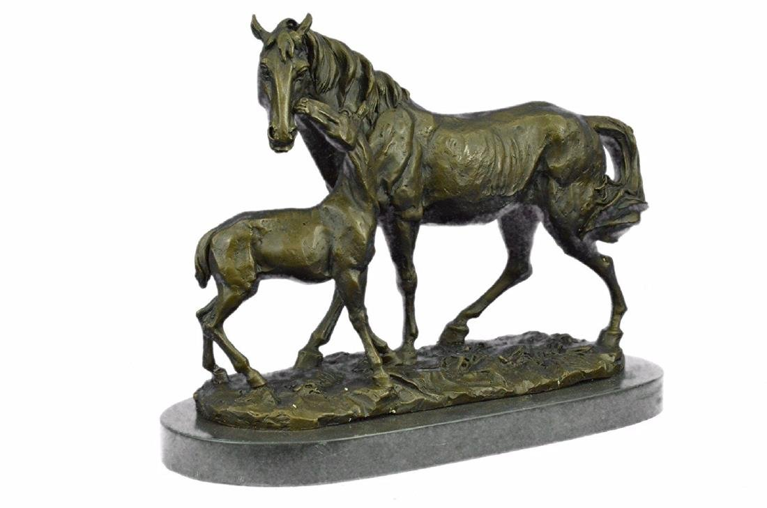 Horse Farm Bronze Sculpture on Marble Base Figurine