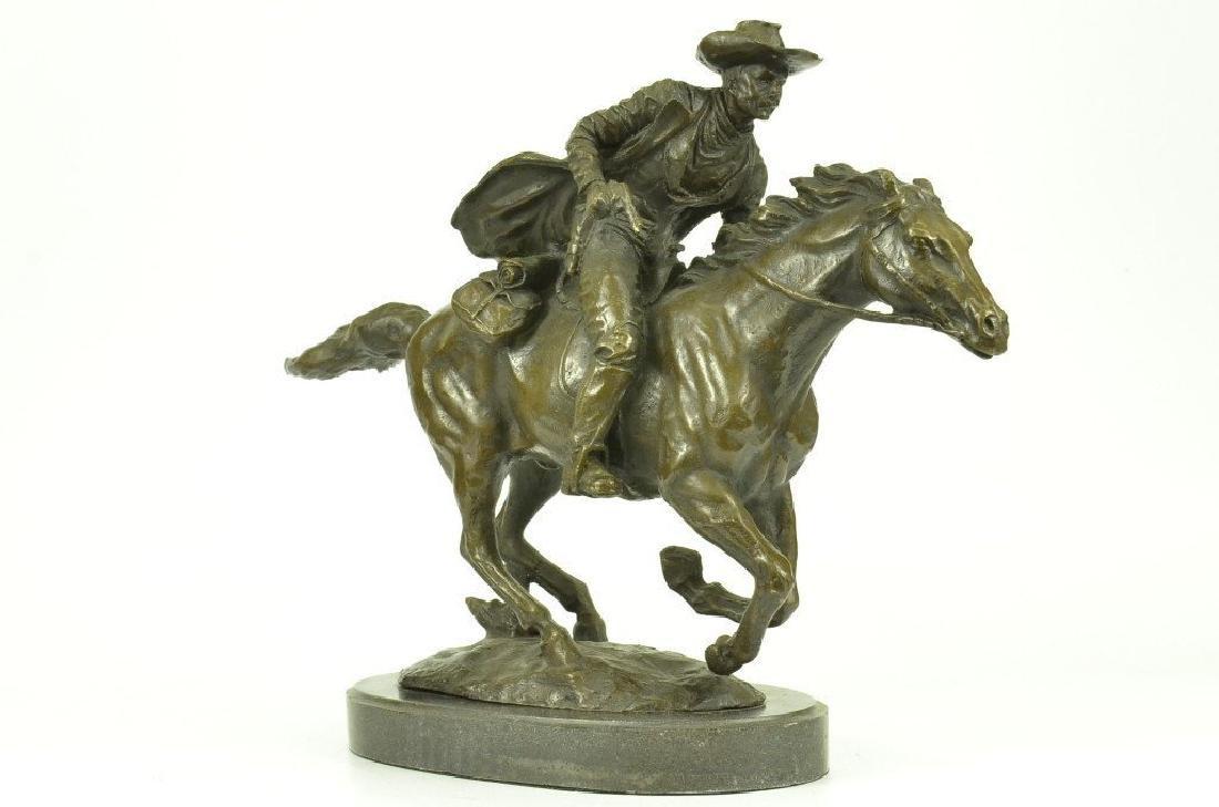 Western Cowboy Horse Ranch Bronze Sculpture on Marble
