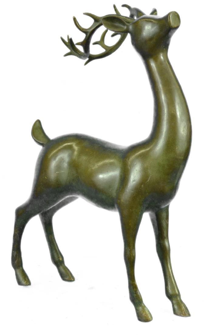 Deer-Buck Bronze Statue on Marble Base Sculpture