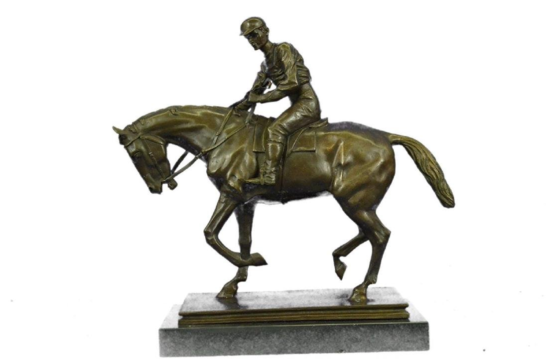 Horse and Jockey Racetrack Bronze Statue