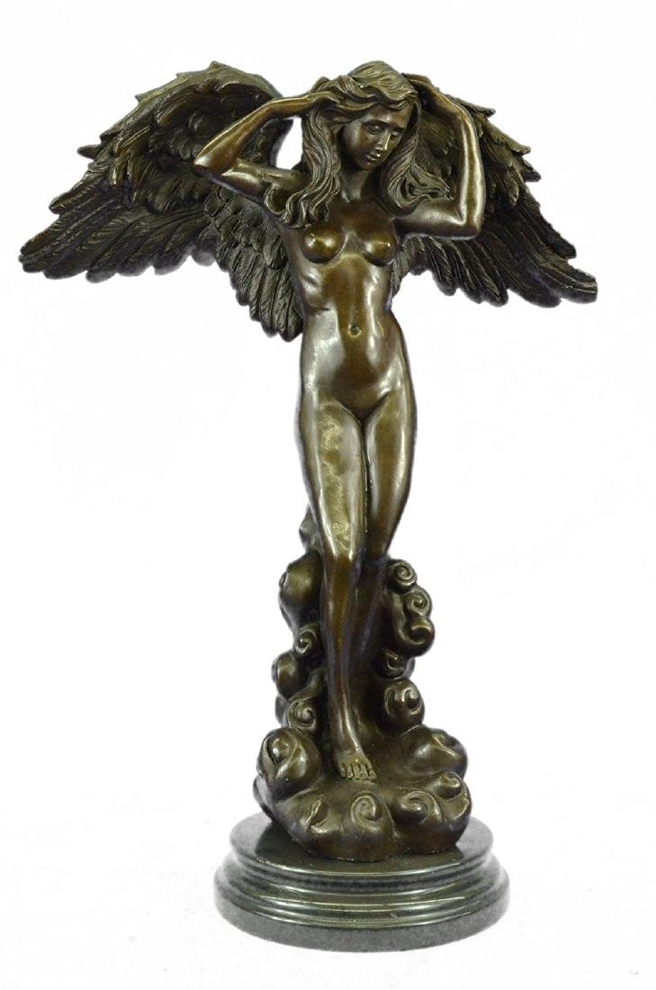 Winged Victory Angel Bronze Sculpture on Marble Base