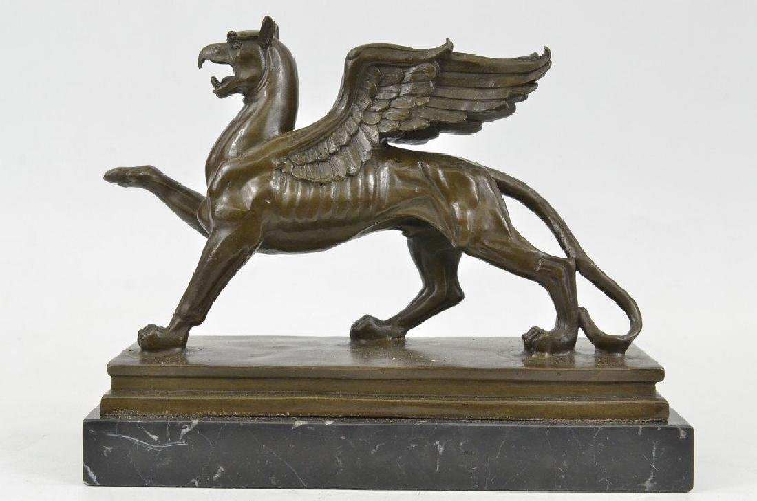 Griffin Bronze Statue with Marble Base