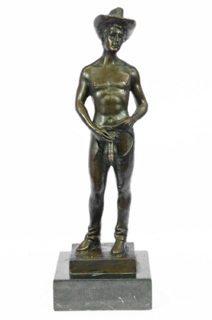 Nude Cowboy Bronze Figurine on Marble Base Sculpture