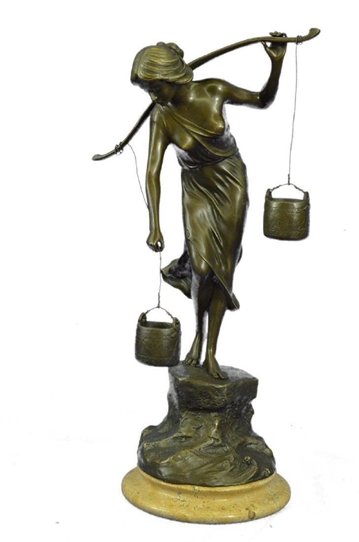 Bucket Bronze Sculpture on Marble Base Figurine