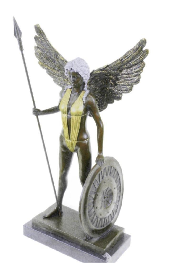 Viking Warrior Bronze Statue on Marble Base Sculpture