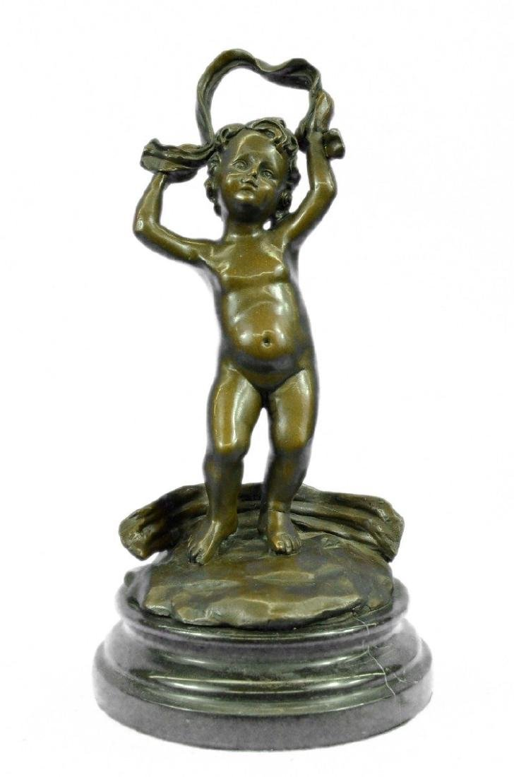 Cherubs Bronze Sculpture on Marble Base Figurine