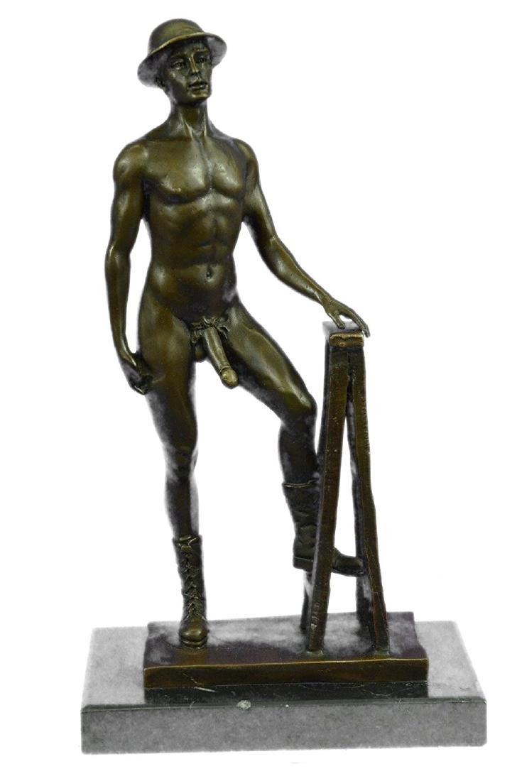 Nude Male Gay Art Bronze Sculpture on Marble Base