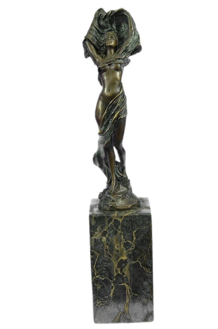 Nude Girl Bronze Statue on Marble Base Figure