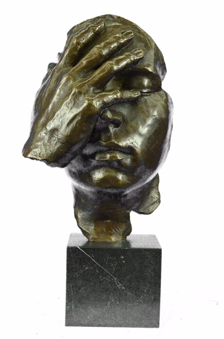Shame on Me Bronze Sculpture on Marble Base Figurine