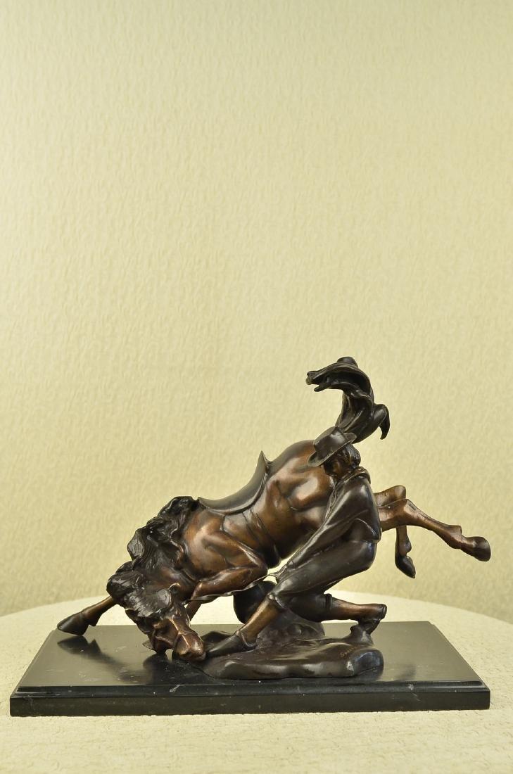Cowboy Rodeo Horse Bronze Sculpture
