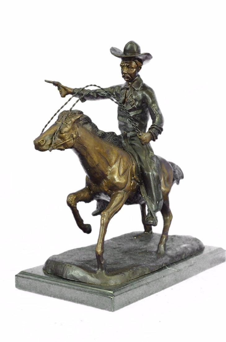 Cowboy Charges Bronze Sculpture Statue Marble Base