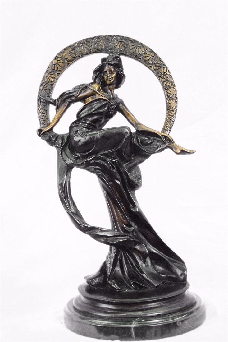 Venus on Moon Bronze Figurine on Marble Base Sculpture