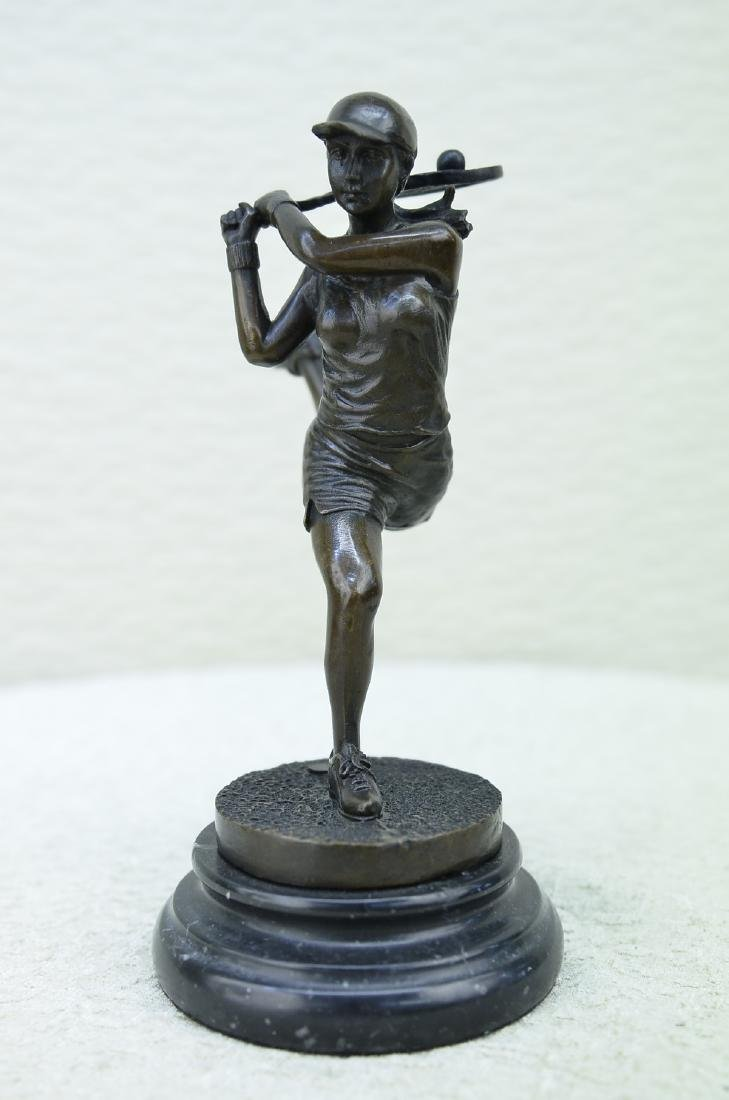 Trophy Female Tennis Player Bronze Sculpture