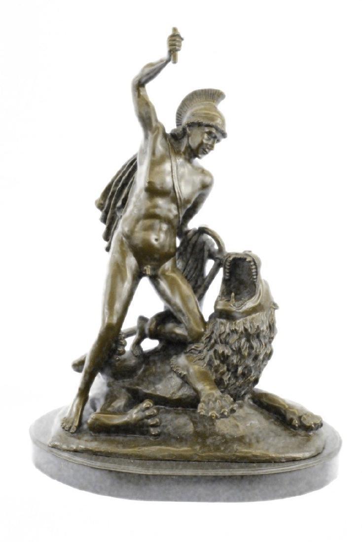 Roman Warrior Attacks savage Beast Lion Bronze