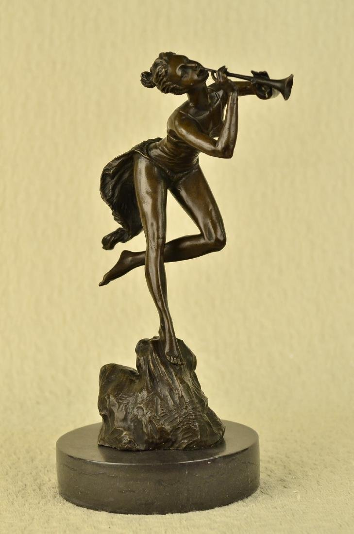 Sexy Nude Wood Nymph Playing Flute Bronze Sculpture