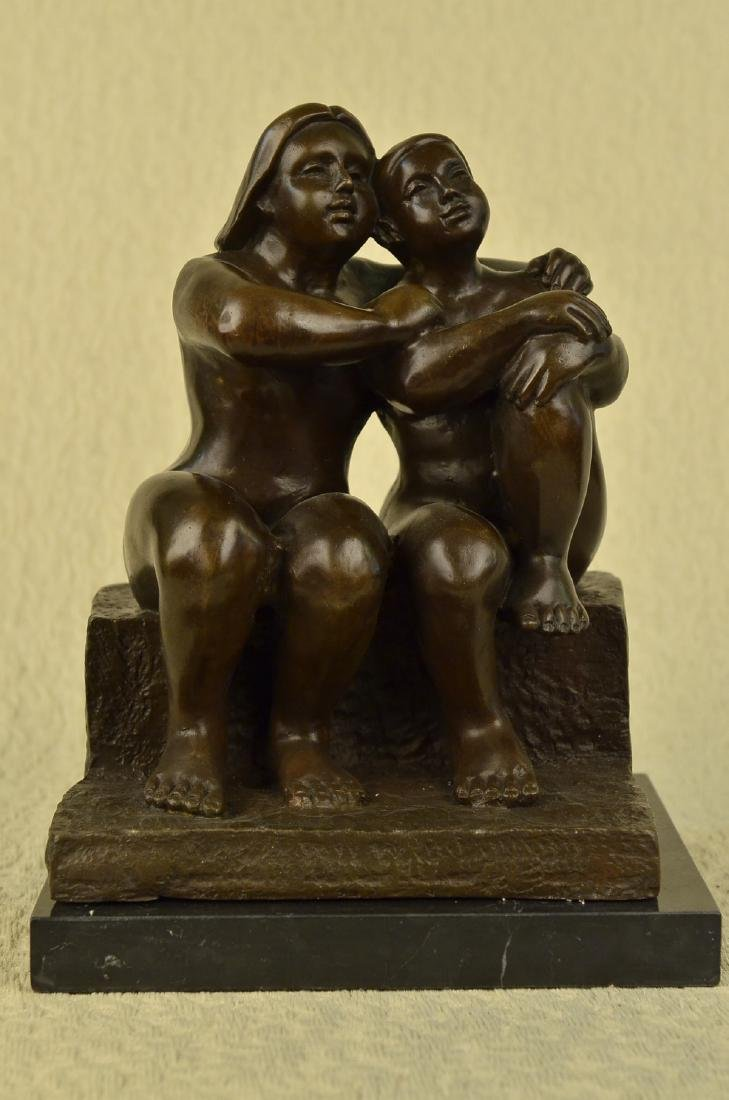Lesbian Couple Bronze Sculpture on Marble Base Statue