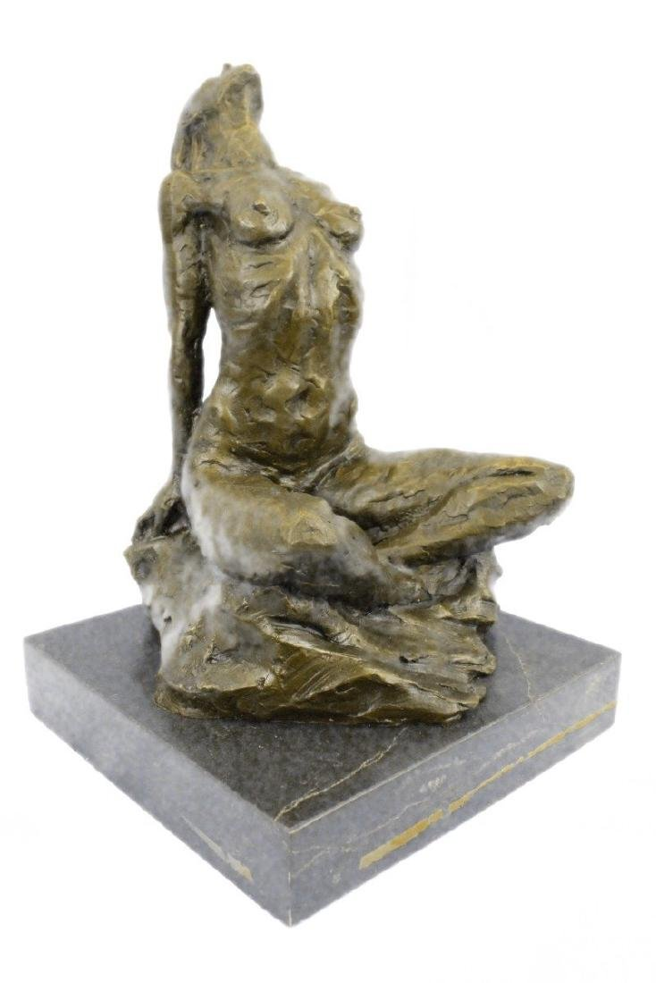 Nude Female Bronze Statue on Marble Base Sculpture