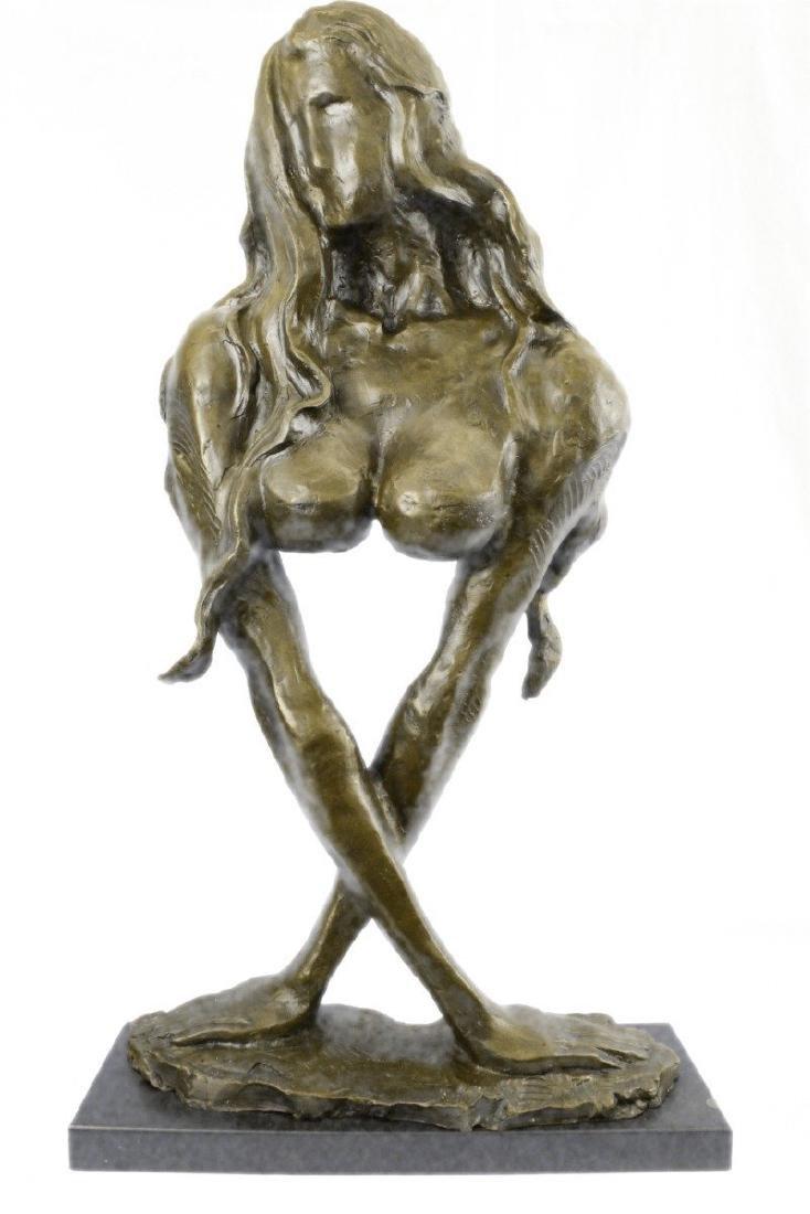 Nude Woman Bronze Sculpture on Marble Base Figurine