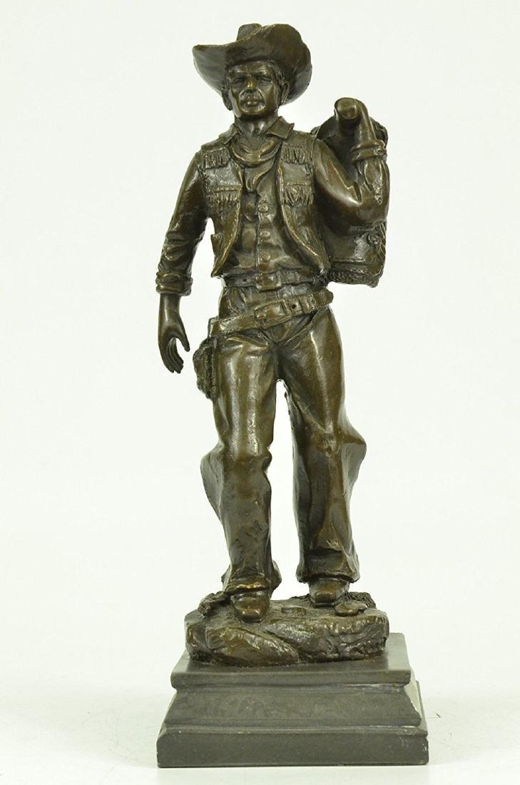 Classic Cowboy Bronze Sculpture on Marble Base Figurine