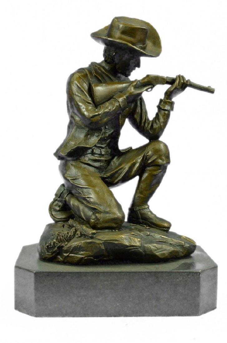 Cowboy With Gun Bullet Rifle Shooting Range Bronze