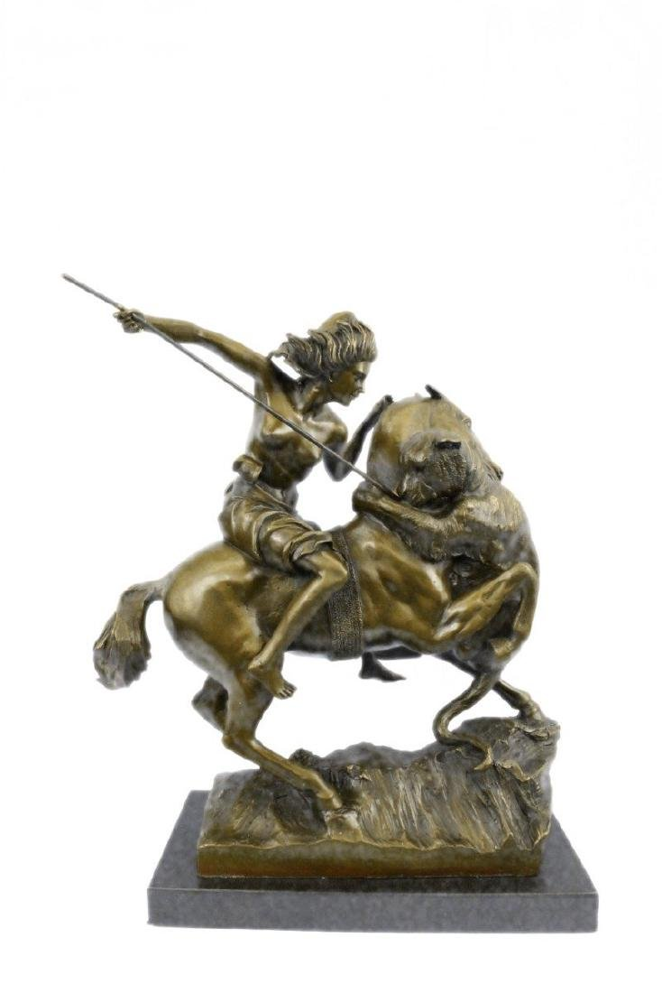 Horseback Attacked by a Tiger Kiss Bronze Statue