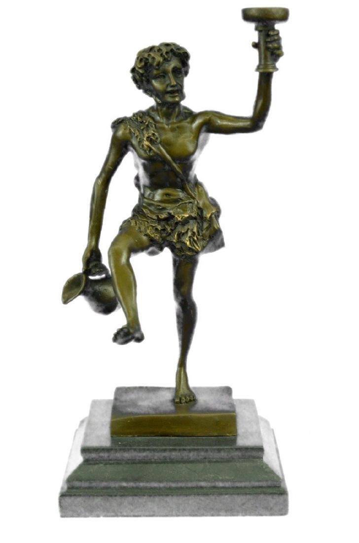 Greek God of Wine Bronze Sculpture on Marble Base