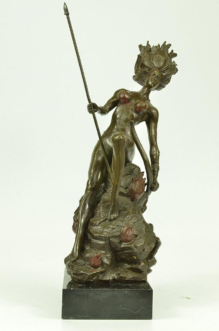 Naked Bust Amazon Female Warrior with Bow Bronze