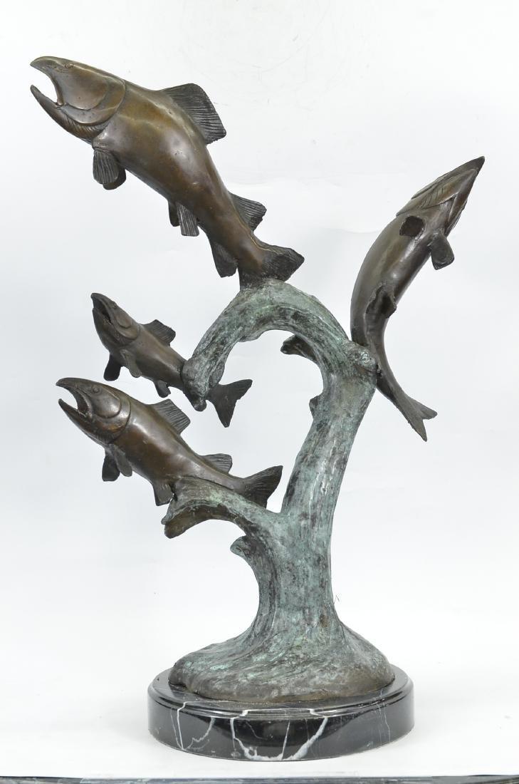 Four Trouts Fish Bronze Sculpture