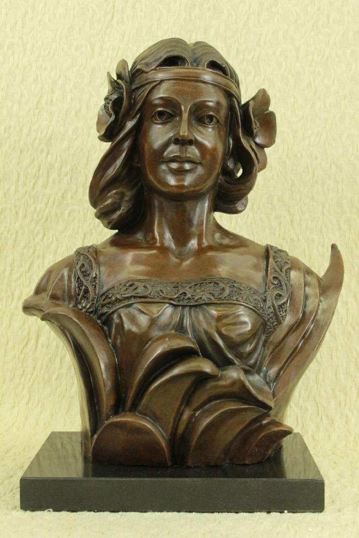 Female Bust Bronze Sculpture on Marble Base Statue