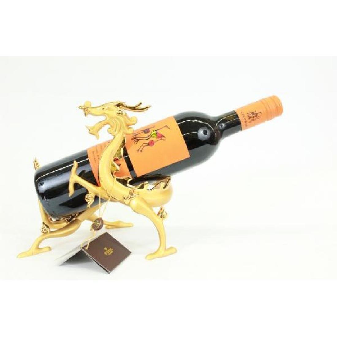 Gold Plexiglases Golden Dragon Wine Holder Sculpture