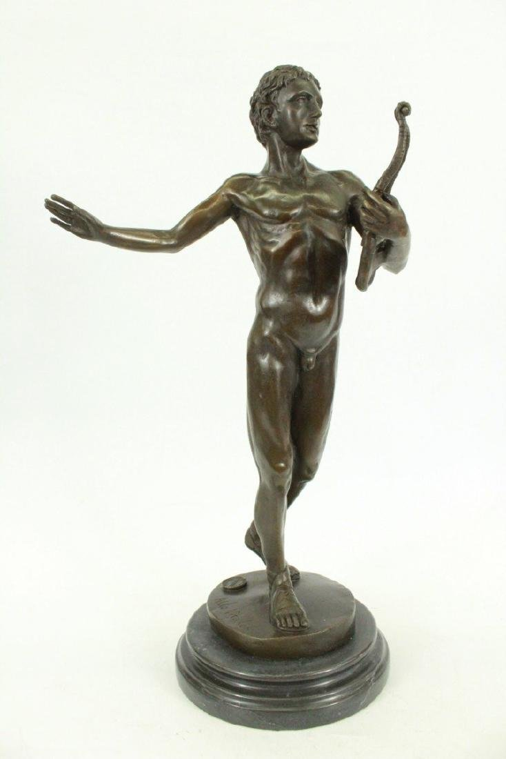 Robust Nude Male Bronze Sculpture
