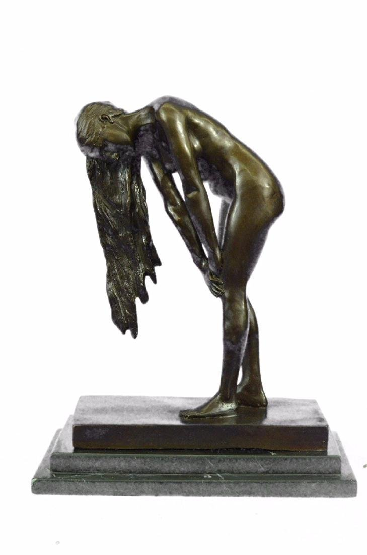 High Quality Nude Girl Bronze Sculpture on Marble Base