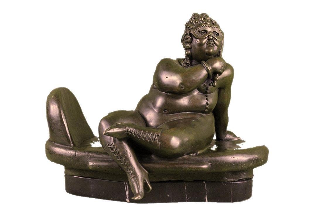 Nude Female Bronze Sculpture on Marble Base Figurine