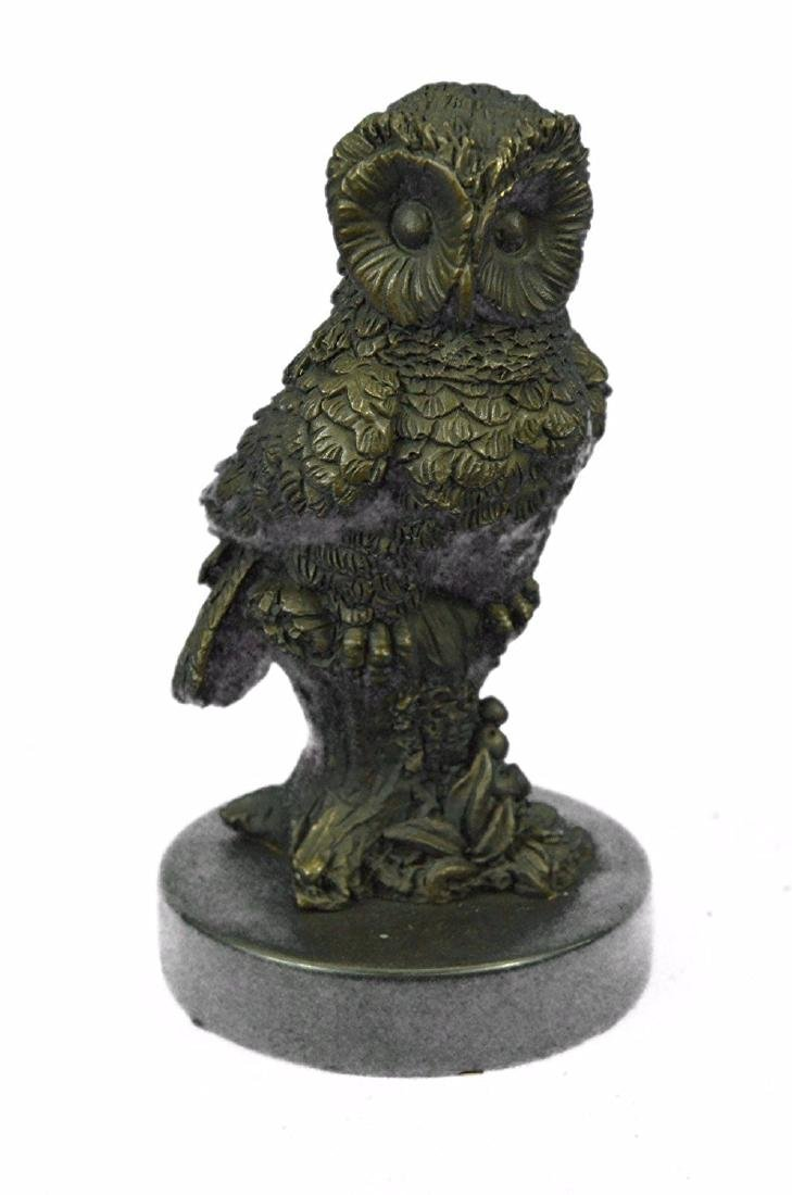 Beautiful Owl Bronze Statue on Marble Base Sculpture