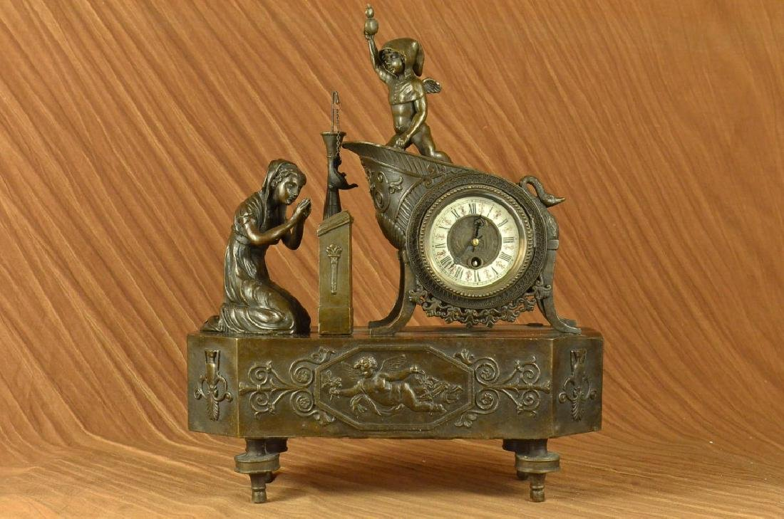 French Mantle Clock of Maiden and Cupid Bronze