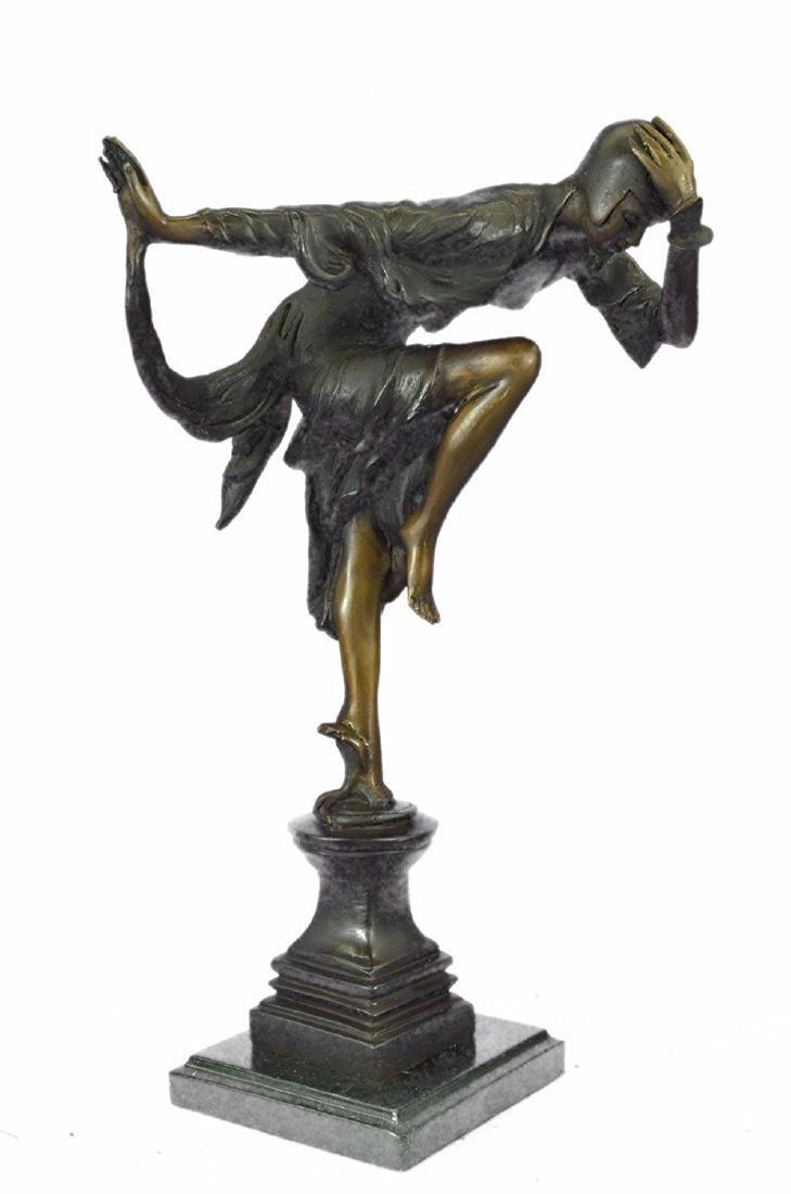 Striking Pose Dancer Bronze Sculpture on Marble Base