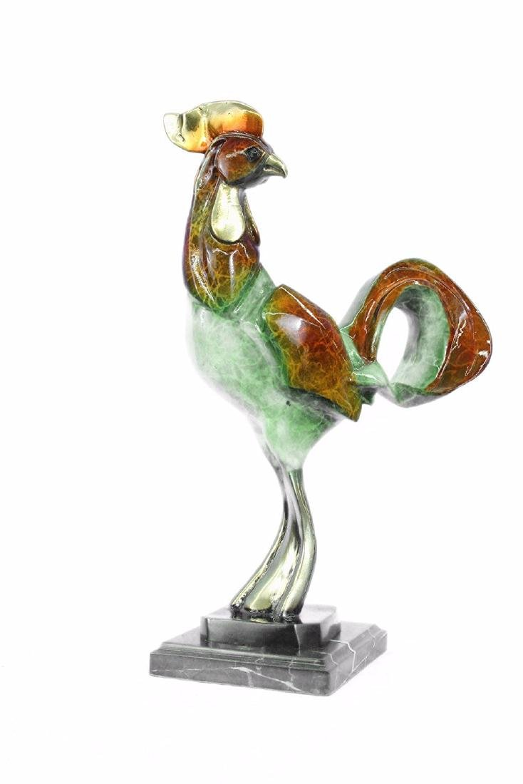 Rooster Special Patina Bronze Sculpture
