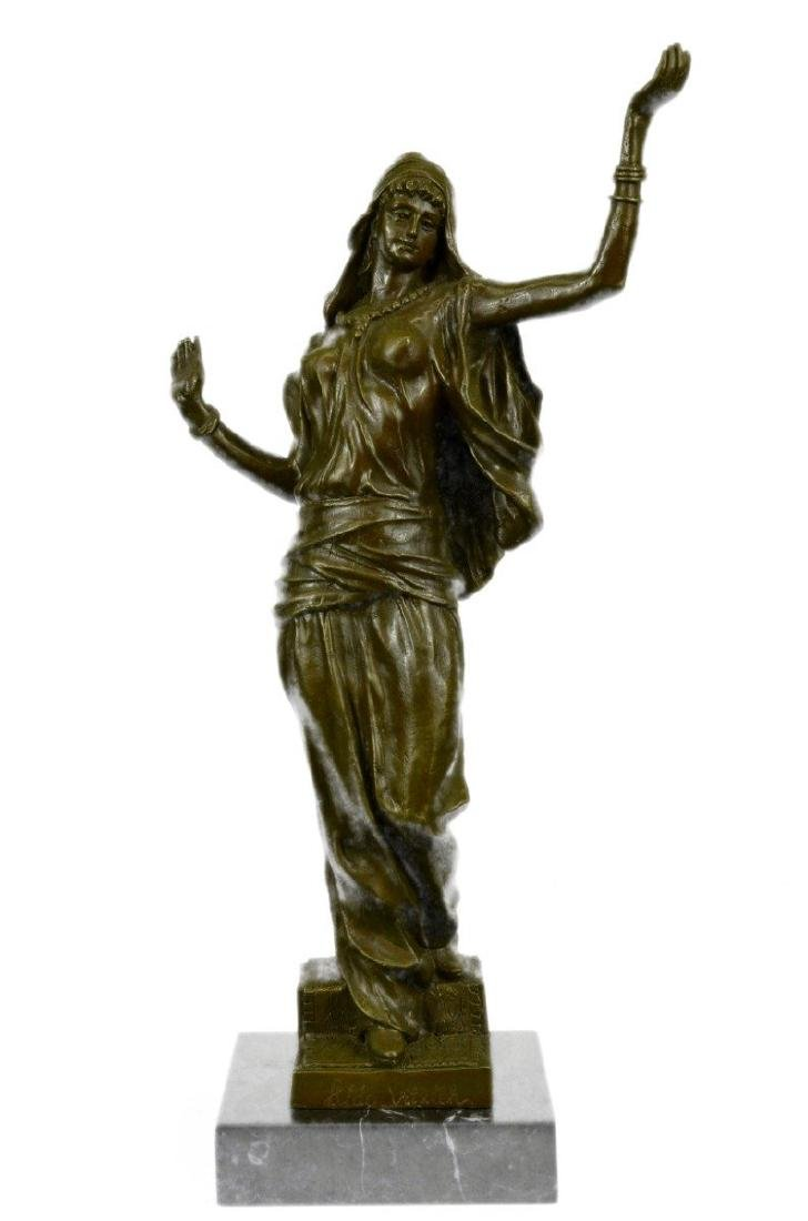 Arab Girl Dancing Bronze Sculpture on Marble Base