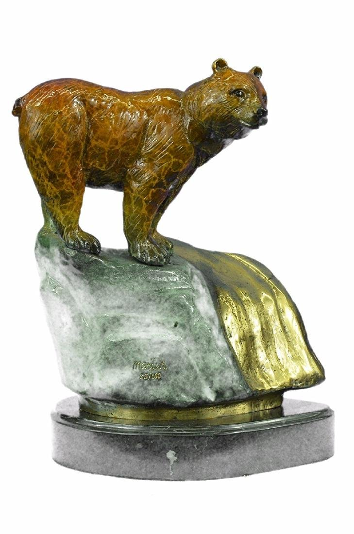 Bear Bronze Sculpture on Marble Base Statue
