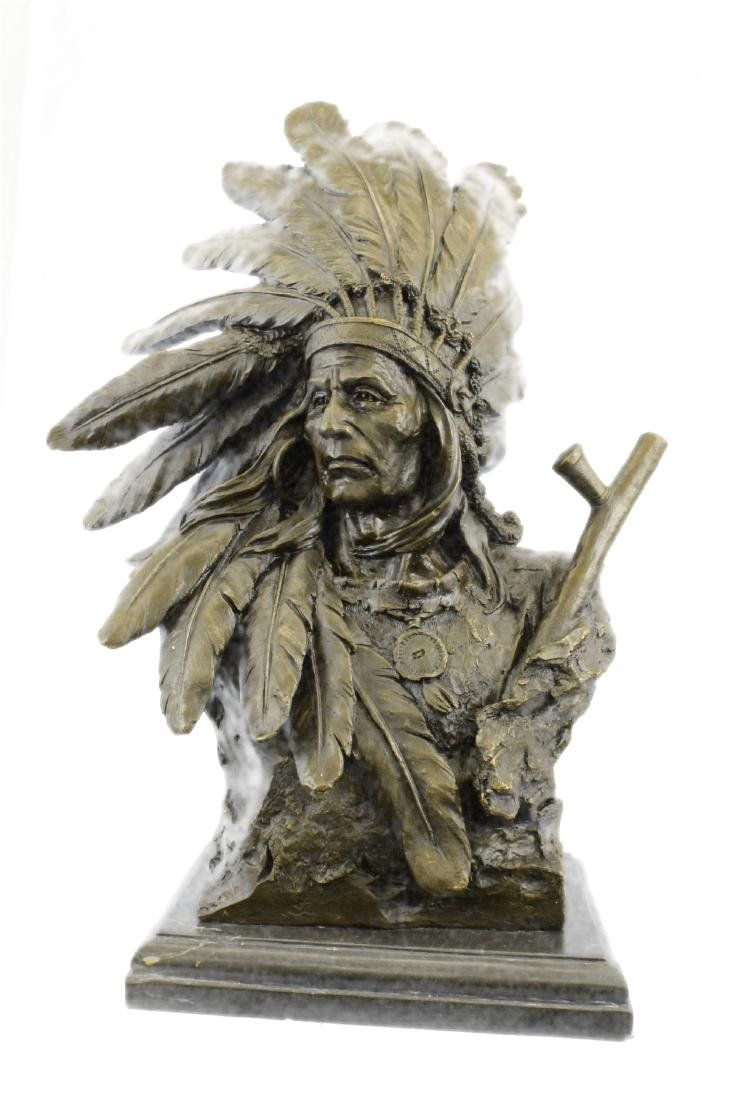 Native Indian Warrior Chief Bronze Sculpture