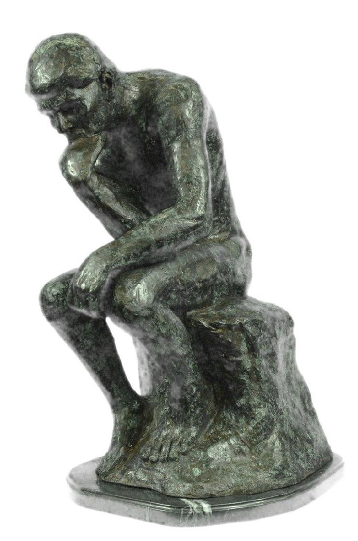 Thinker Famous Work Bronze Sculpture on Marble Base